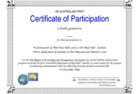 Certificate Of Participation Word Template with Certification Of Participation Free Template