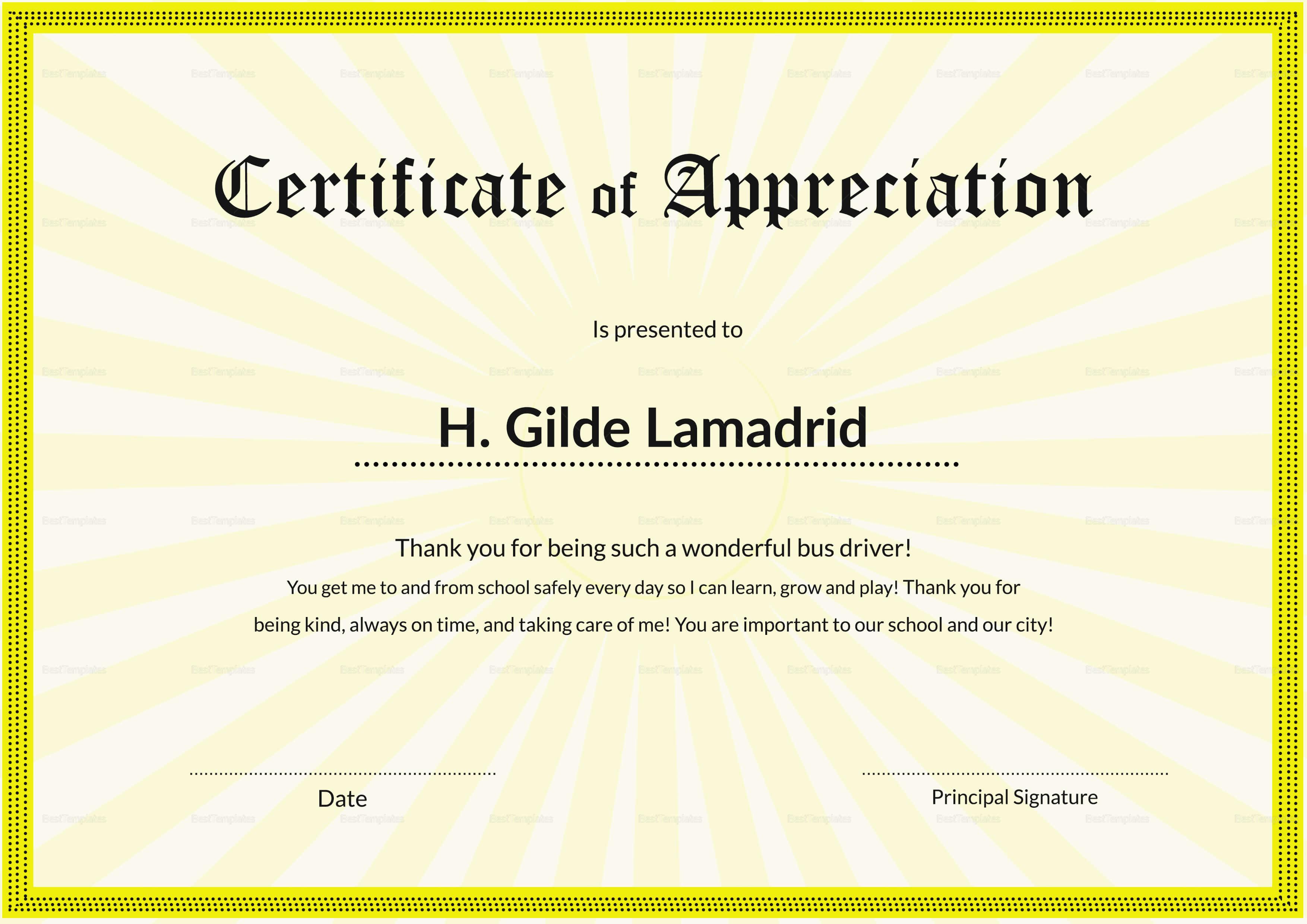 Certificate Of School Appreciation Template regarding Certificate Templates For School
