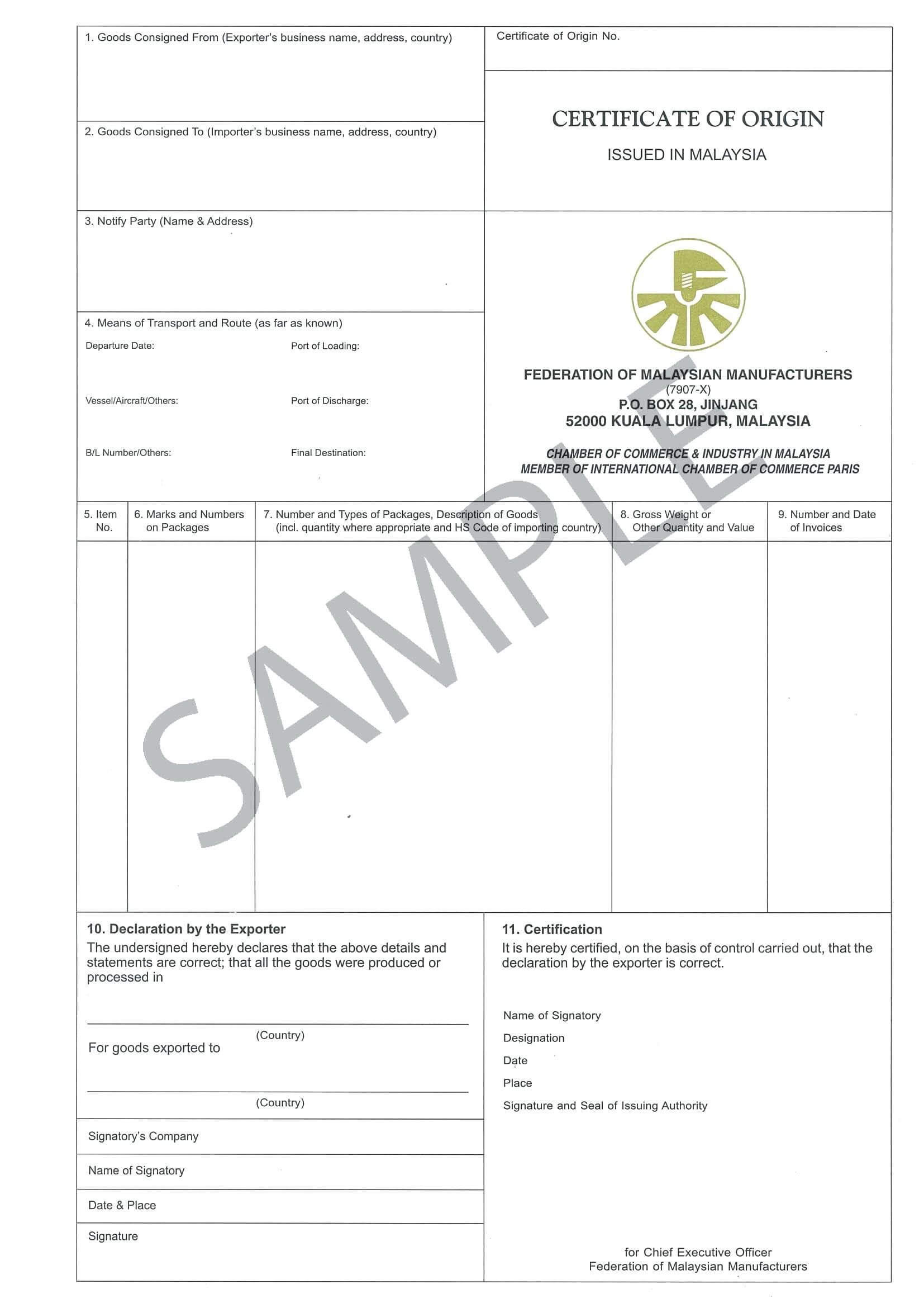 Certificate Origin Template Usa Nafta Of Form Us Word Within intended for Nafta Certificate Template