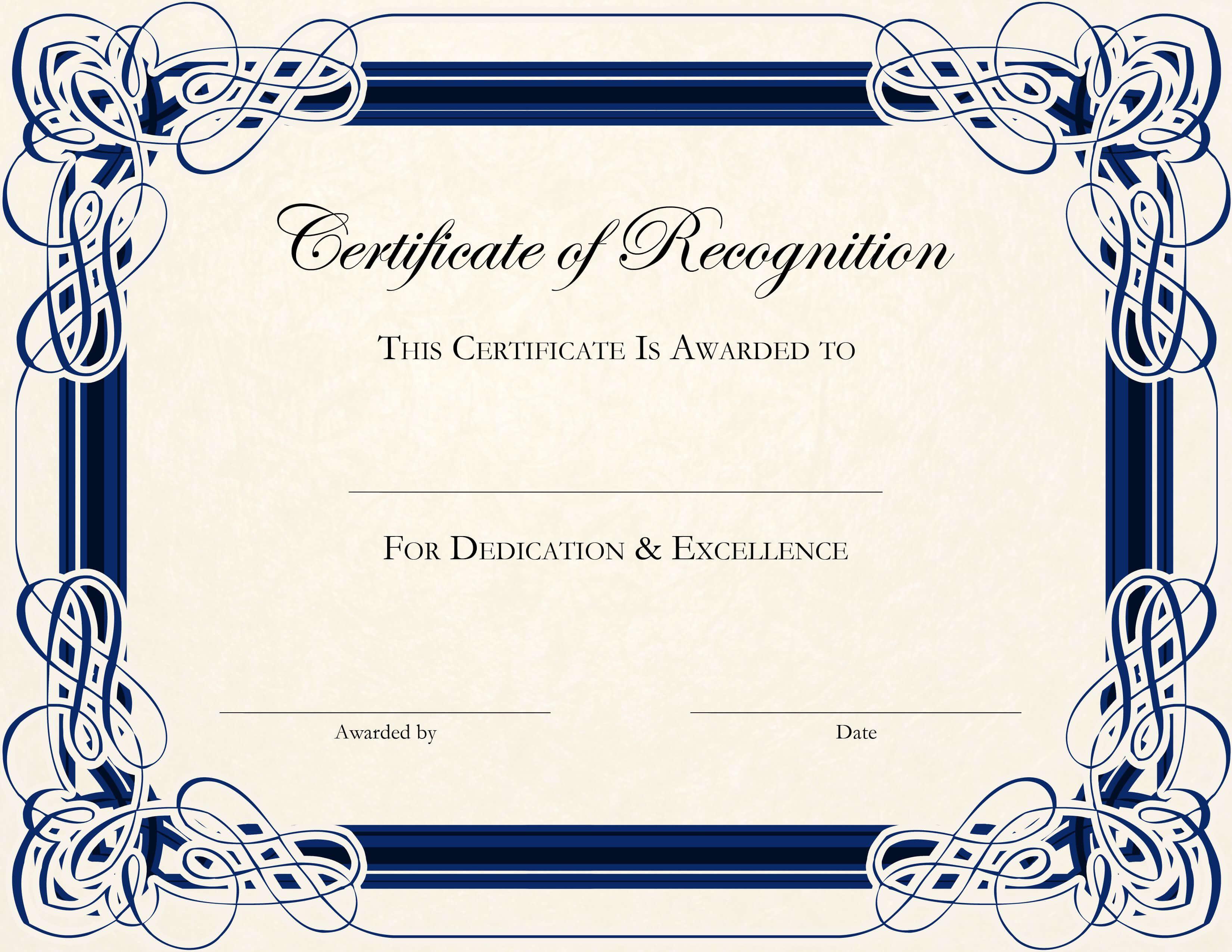 Certificate Template Designs Recognition Docs | Certificate In Sample Certificate Of Recognition Template