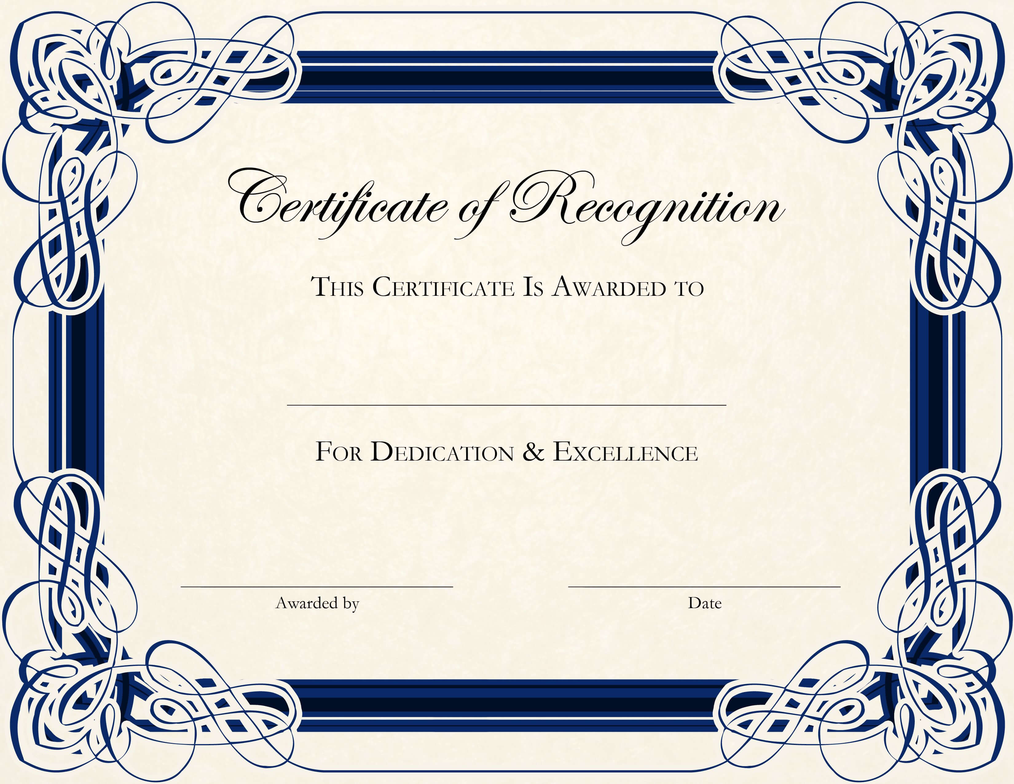 Certificate Template Designs Recognition Docs | Certificate With Regard To Printable Certificate Of Recognition Templates Free