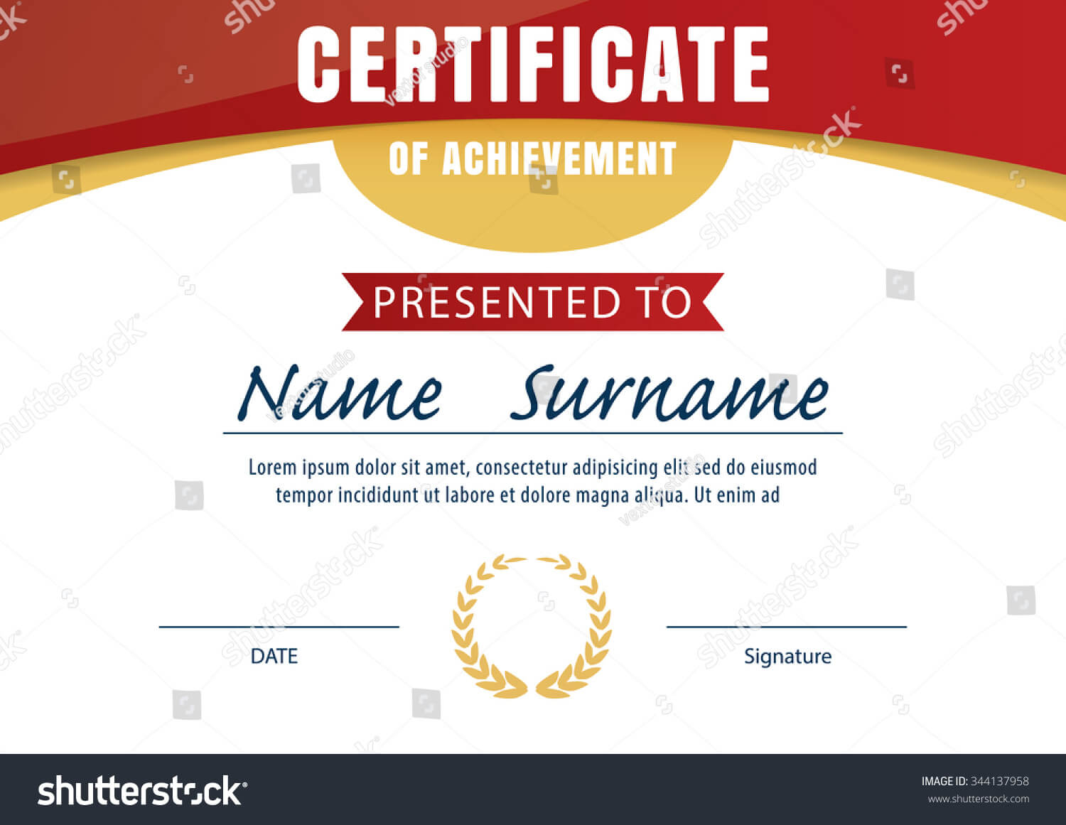 Certificate Template Diploma Layout A4 Size Stock Vector Inside Certificate Template Size