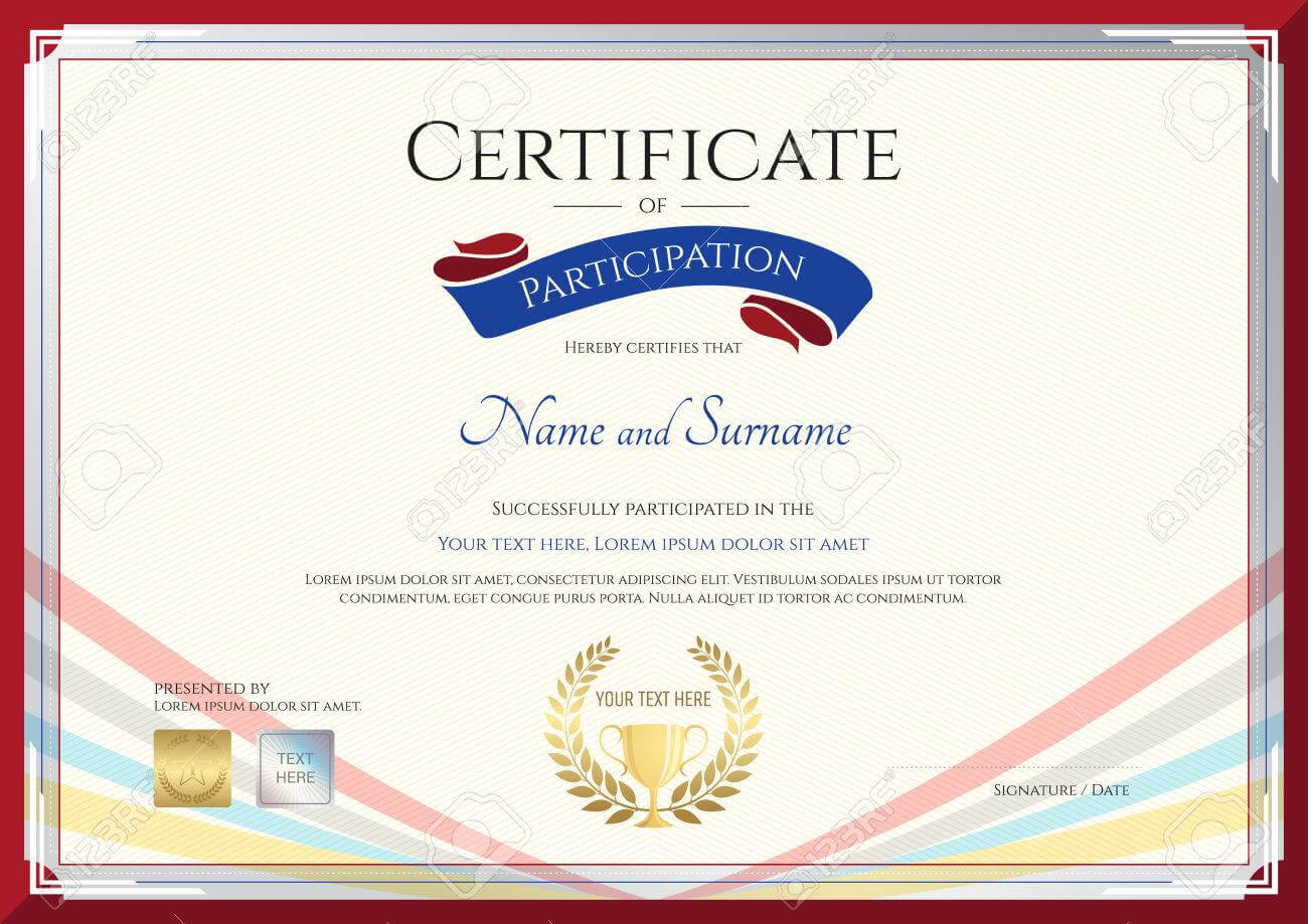 Certificate Template For Achievement, Appreciation Or Participation.. with regard to Templates For Certificates Of Participation