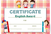 Certificate Template For English Award With Many Kids Illustration regarding Children's Certificate Template
