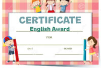 Certificate Template For English Award With Many Kids Stock pertaining to Certificate Of Achievement Template For Kids