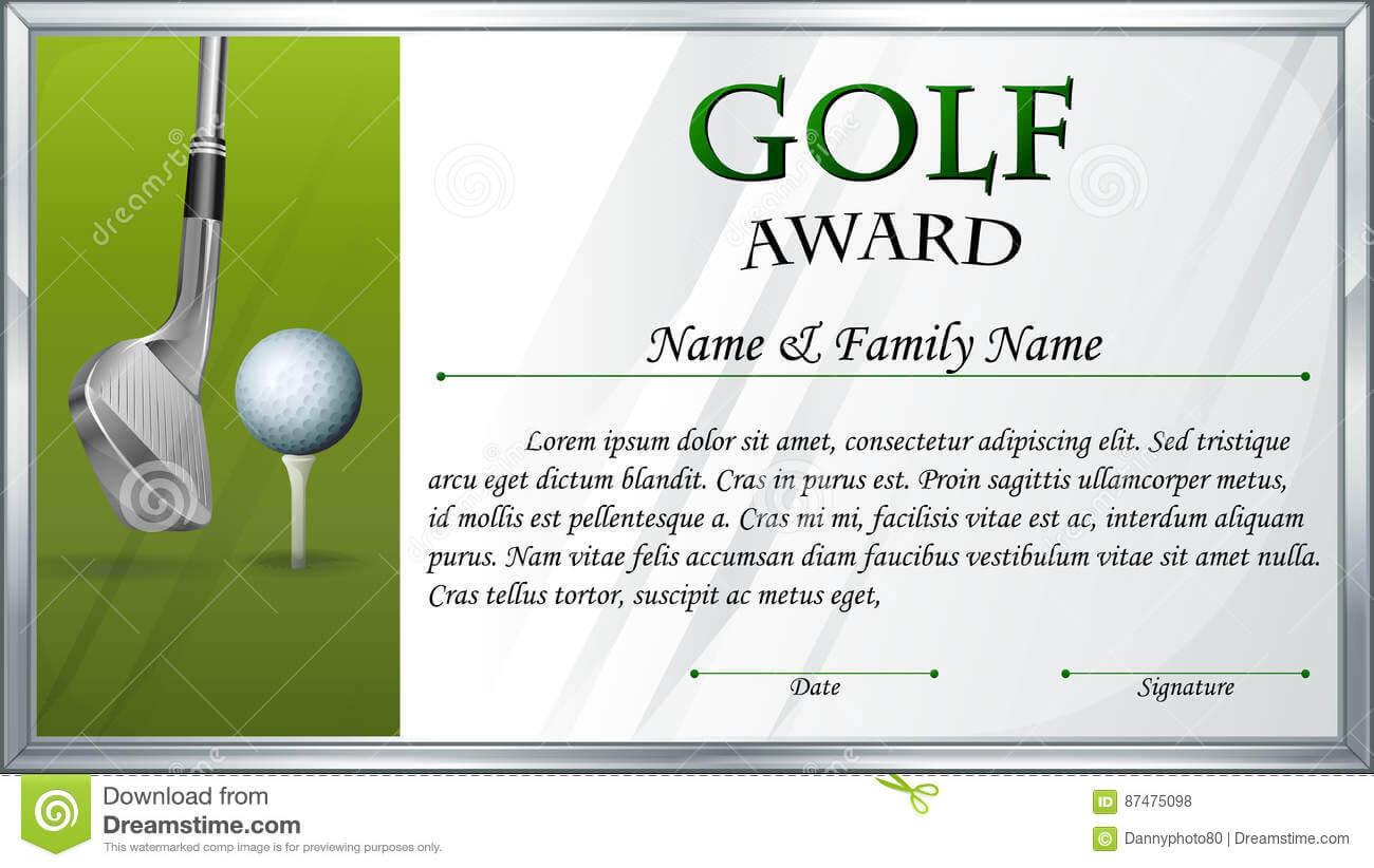 Certificate Template For Golf Award Stock Vector Intended For Golf Gift Certificate Template
