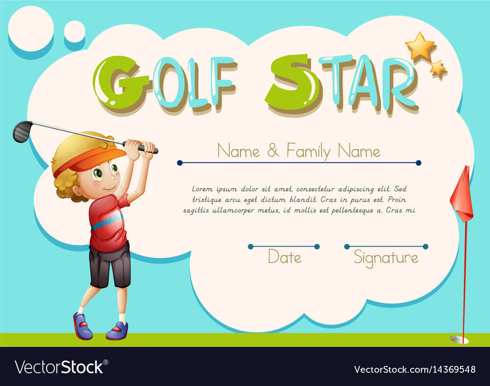 Certificate Template For Golf Star for Golf Certificate Template Free