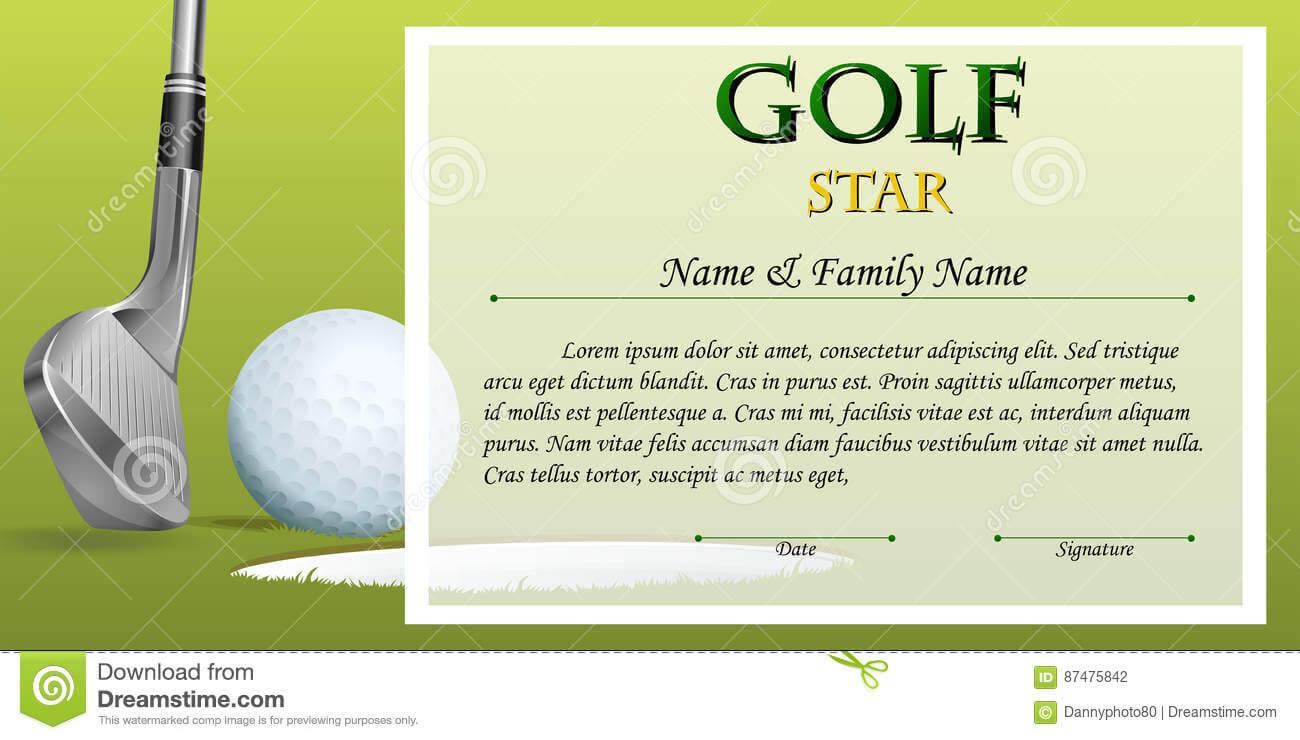 Certificate Template For Golf Star With Green Background for Golf Certificate Template Free