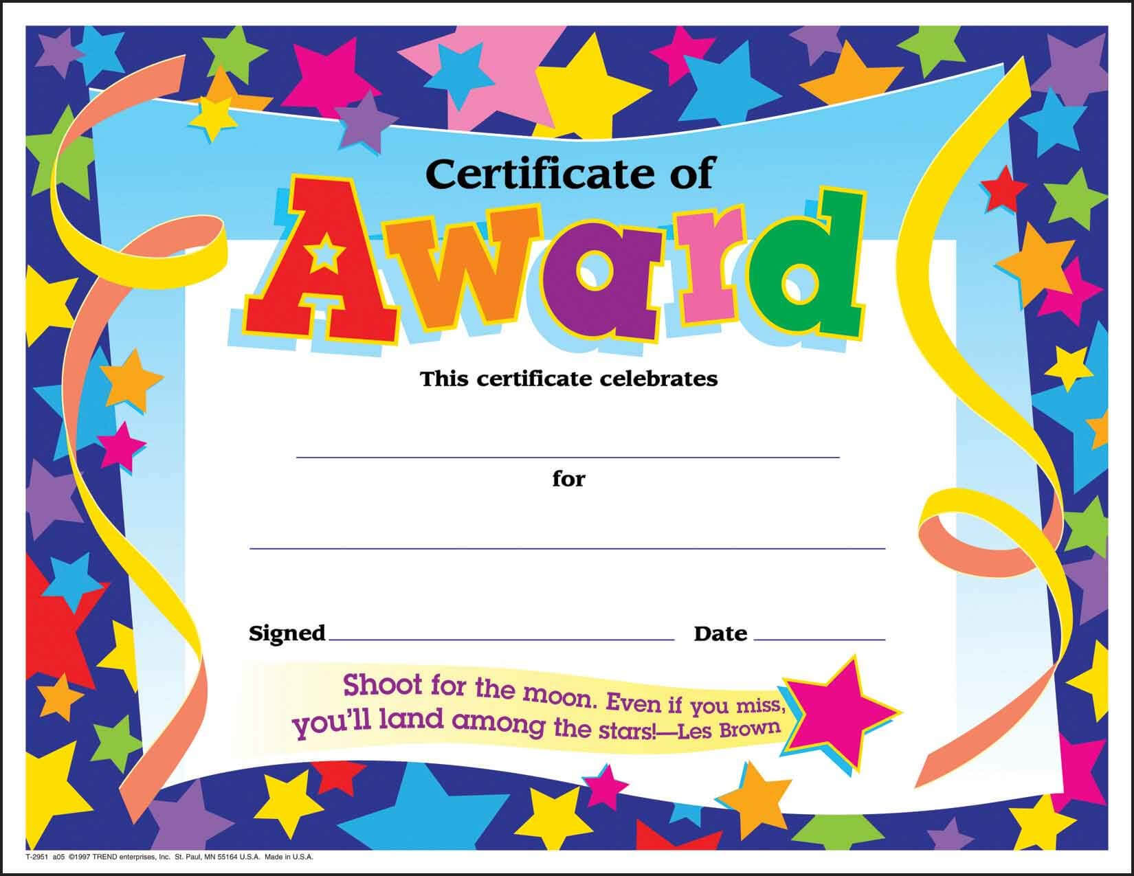 Certificate Template For Kids Free Certificate Templates For Star Of The Week Certificate Template