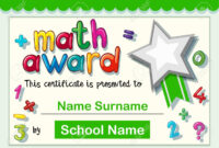 Certificate Template For Math Award Illustration Pertaining To Math Certificate Template