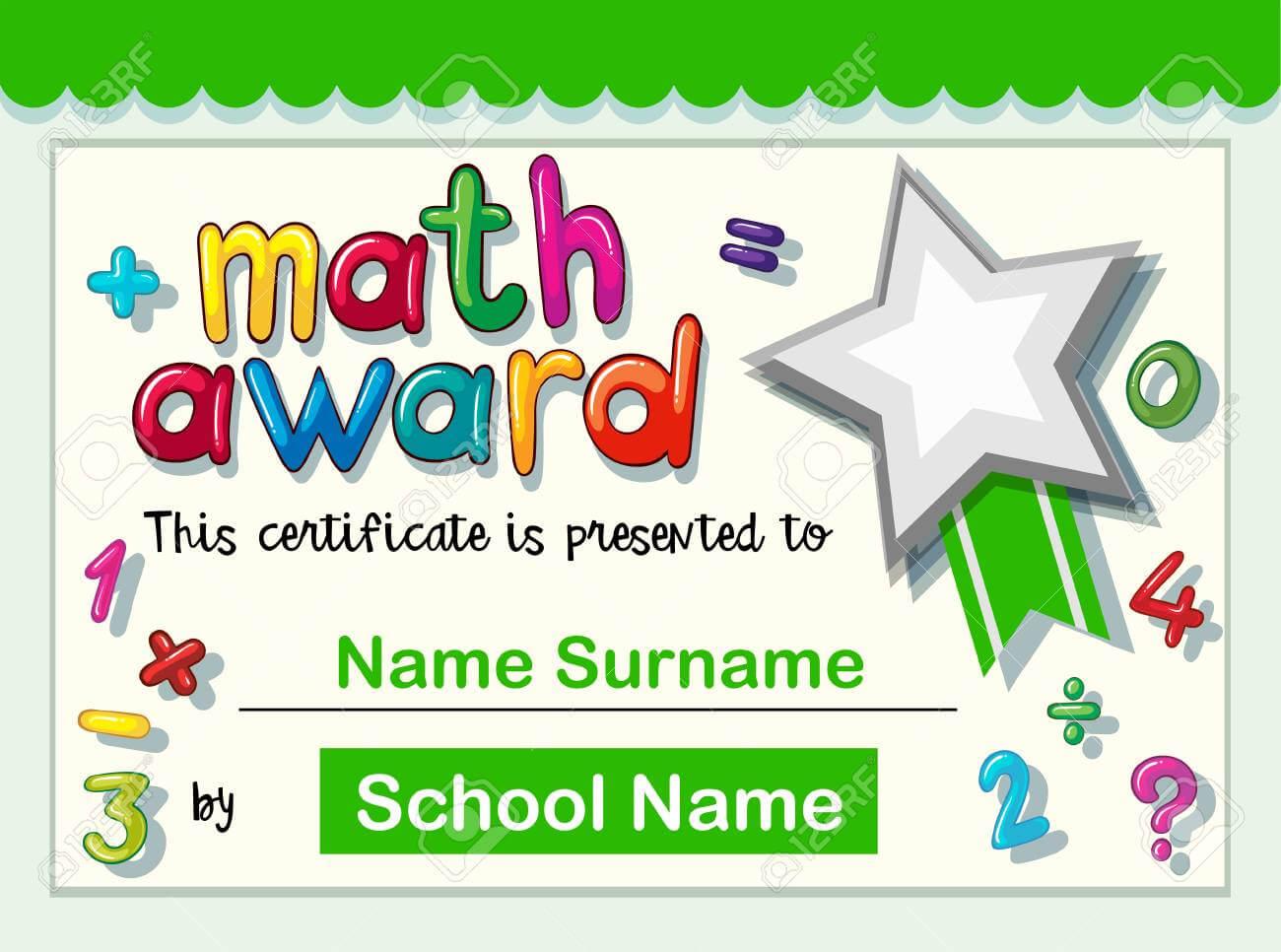 Certificate Template For Math Award Illustration pertaining to Math Certificate Template