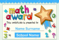 Certificate Template For Math Award With Golden Star Illustration pertaining to Star Award Certificate Template