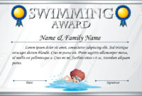 Certificate Template For Swimming Award Illustration Intended For Free Swimming Certificate Templates