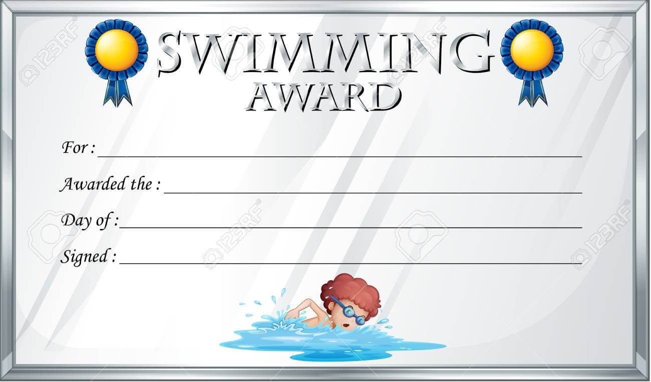 Certificate Template For Swimming Award Illustration pertaining to Free Swimming Certificate Templates