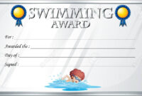 Certificate Template For Swimming Award Illustration with regard to Swimming Certificate Templates Free