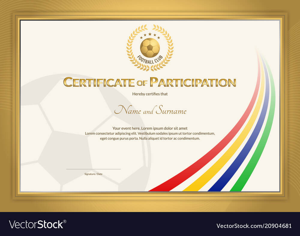 Certificate Template In Football Sport Color inside High Resolution Certificate Template