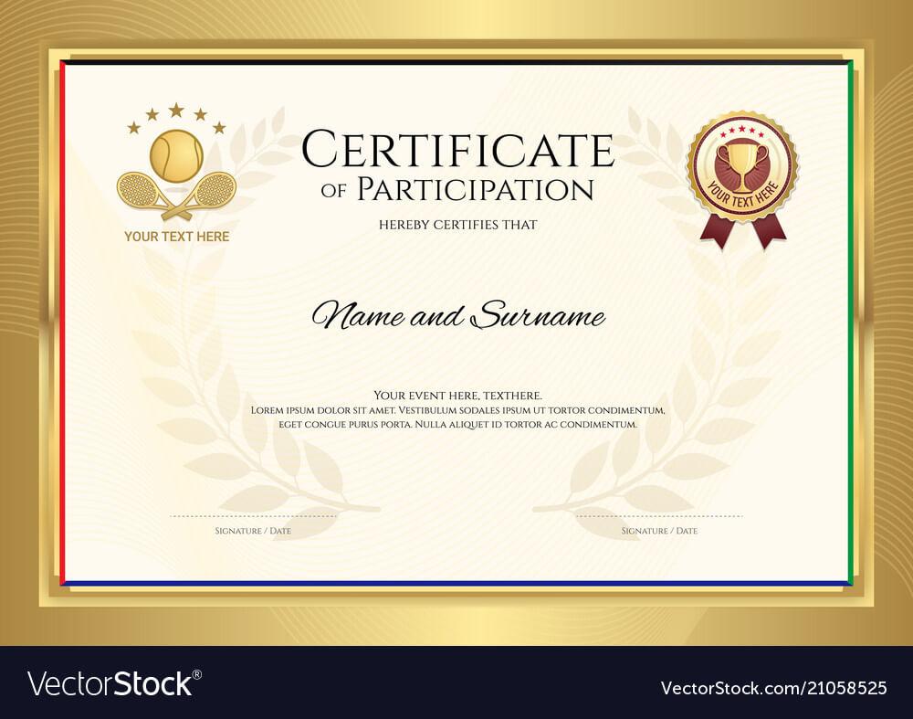 Certificate Template In Tennis Sport Theme With throughout Tennis Certificate Template Free