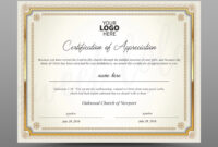 Certificate Template, Instant Download Certificate Of Appreciation –  Editable Ms Word Doc And Photoshop File Included in Walking Certificate Templates