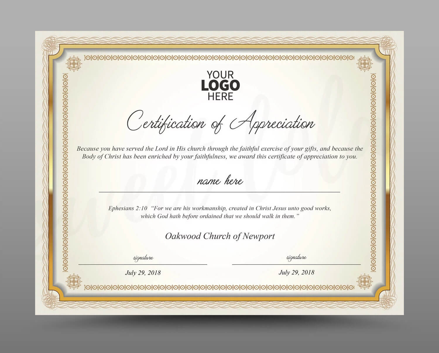 Certificate Template, Instant Download Certificate Of Appreciation -  Editable Ms Word Doc And Photoshop File Included in Walking Certificate Templates