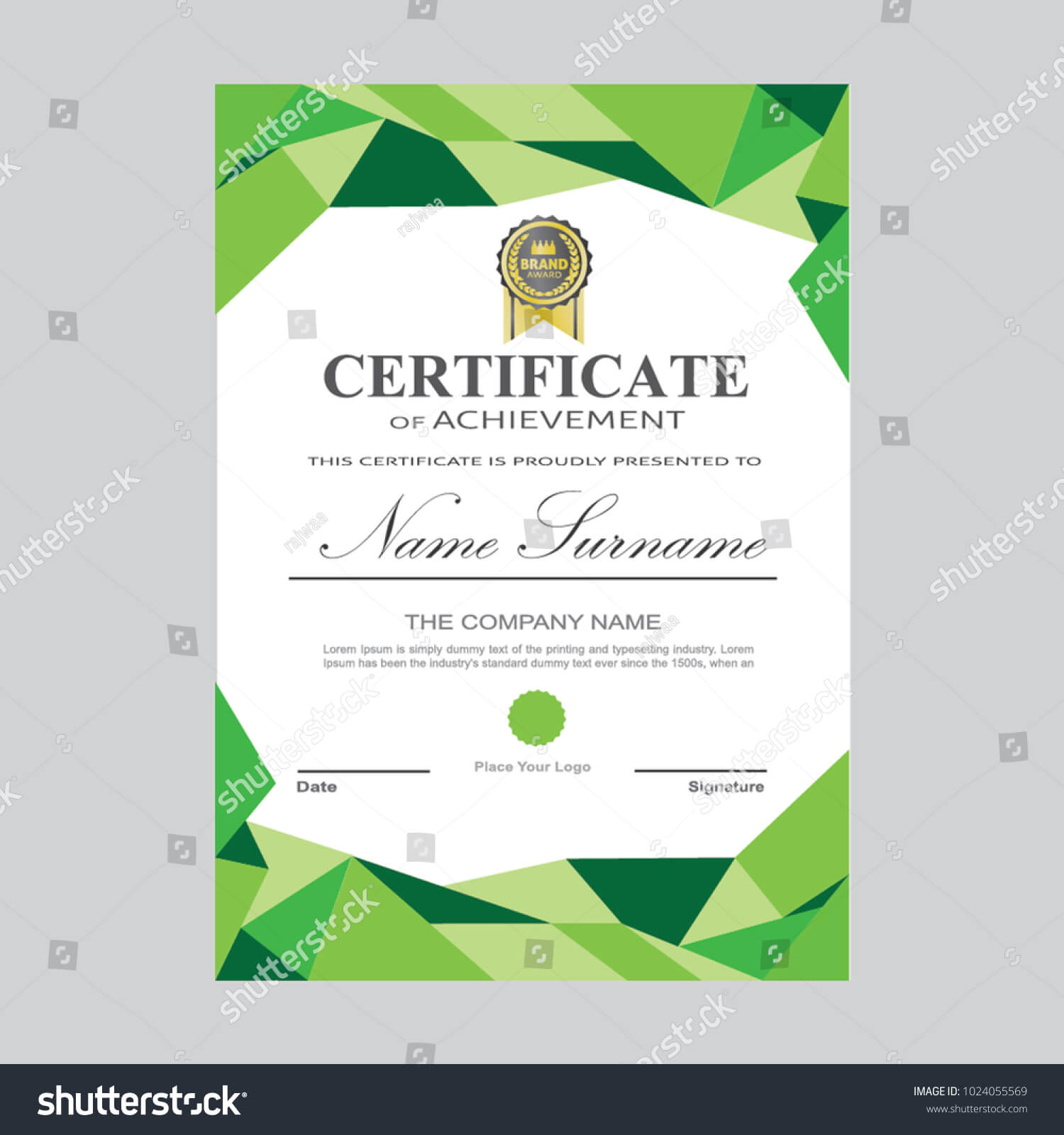 Certificate Template Modern A4 Horizontal Landscape Stock throughout Landscape Certificate Templates