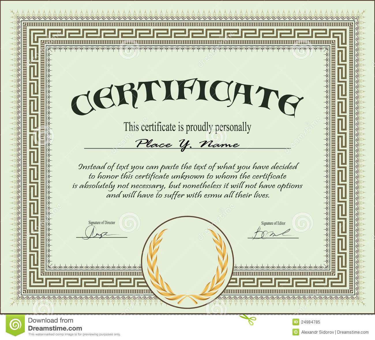 Certificate Template Stock Vector. Illustration Of With Regard To Free Stock Certificate Template Download