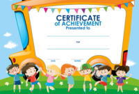 Certificate Template With Children And School Bus pertaining to Certificate Of Achievement Template For Kids