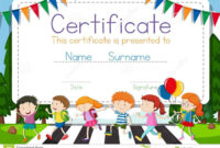 Certificate Template With Children Crossing Road Background pertaining to Crossing The Line Certificate Template