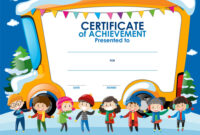 Certificate Template With Children In Winter regarding Free Kids Certificate Templates