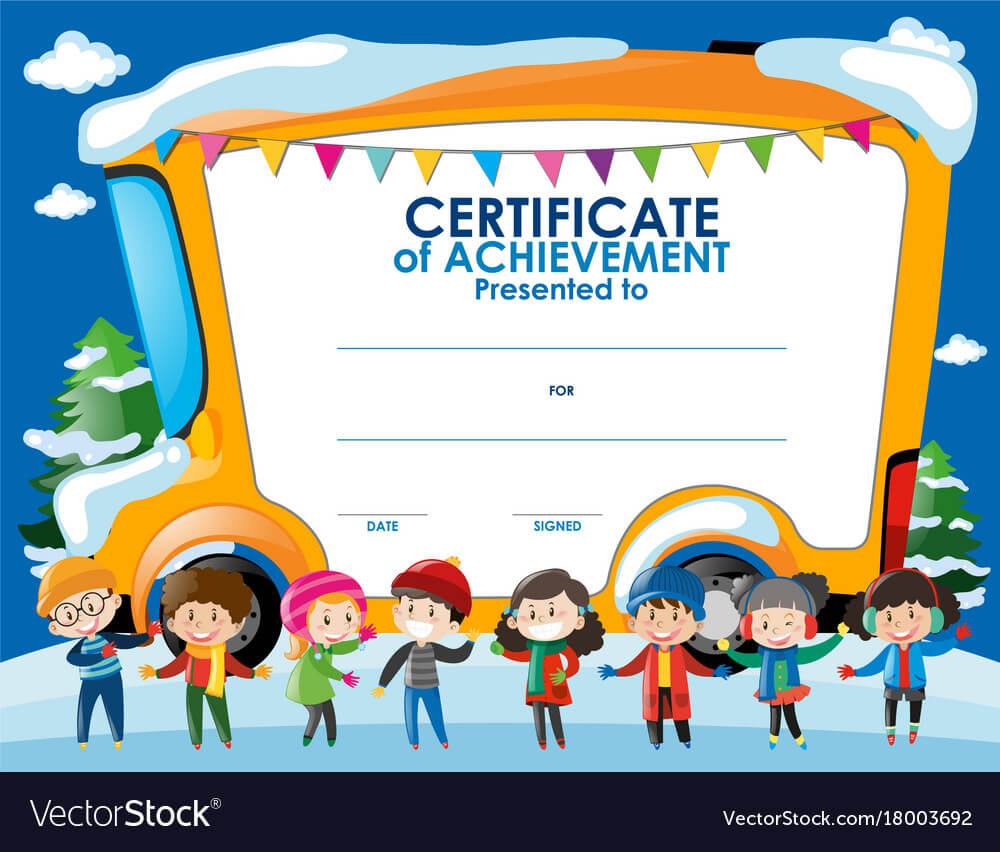 Certificate Template With Children In Winter with regard to Walking Certificate Templates