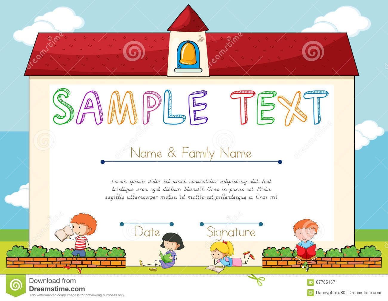 Certificate Template With Children On Background Stock within Small Certificate Template
