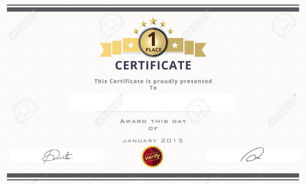 Certificate Template With First Place Concept. Certificate Border.. with regard to First Place Certificate Template