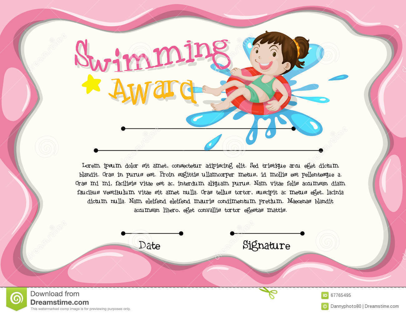 Certificate Template With Girl Swimming Stock Vector inside Free Swimming Certificate Templates