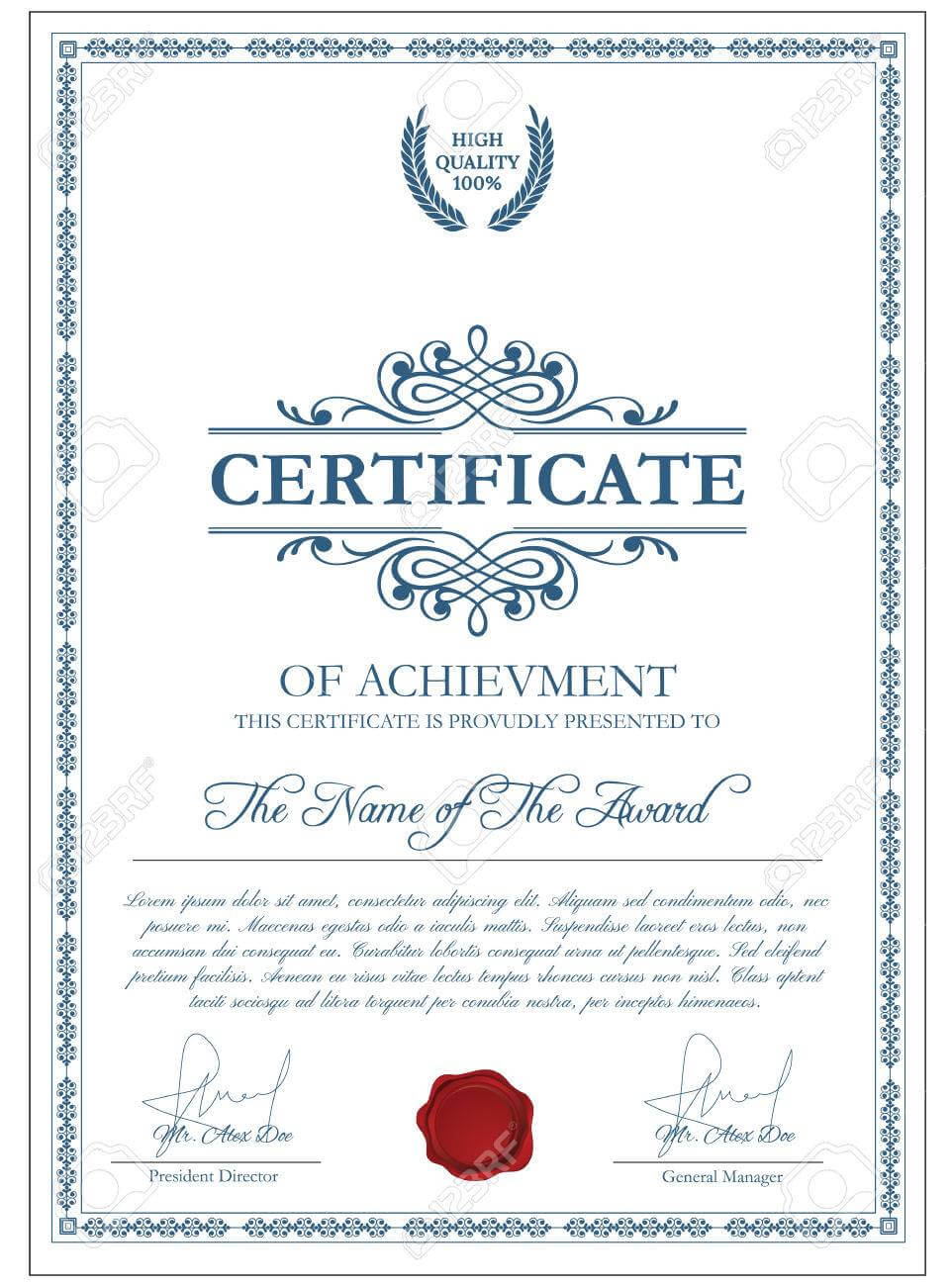 Certificate Template With Guilloche Elements. Blue Diploma Border.. Regarding Validation Certificate Template