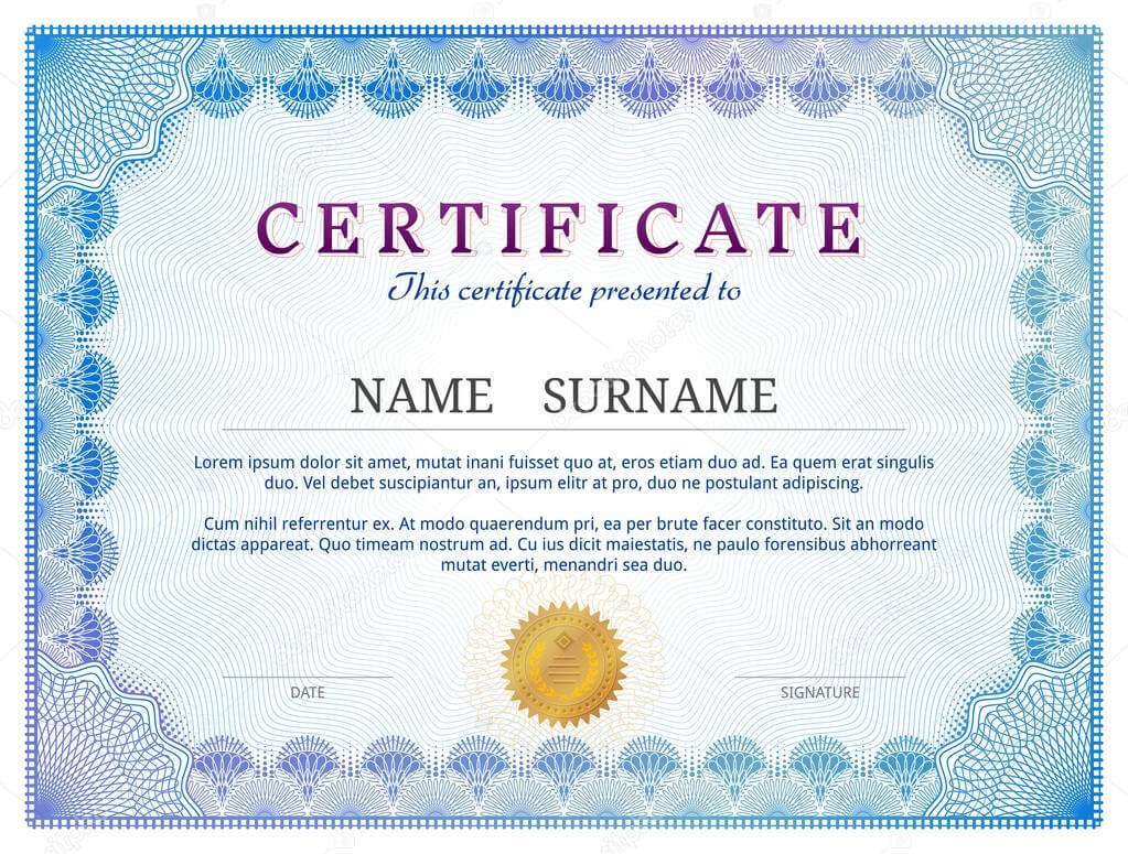Certificate Template With Guilloche Elements — Stock Vector in Validation Certificate Template
