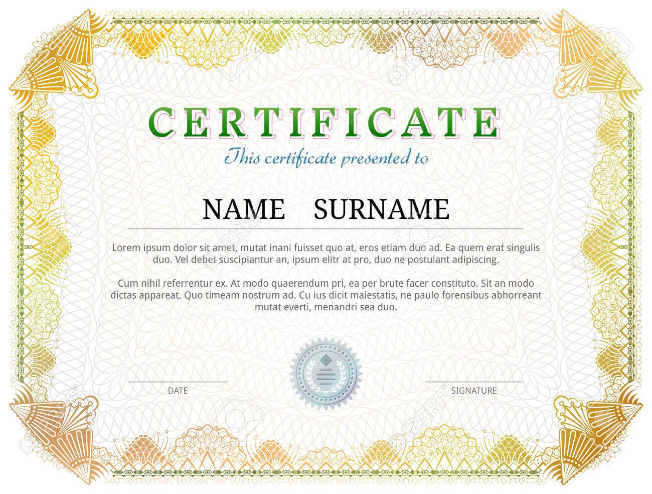 Certificate Template With Guilloche Elements. Yellow Diploma.. intended for Validation Certificate Template