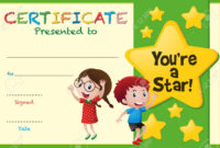 Certificate Template With Kids And Stars Illustration inside Star Certificate Templates Free