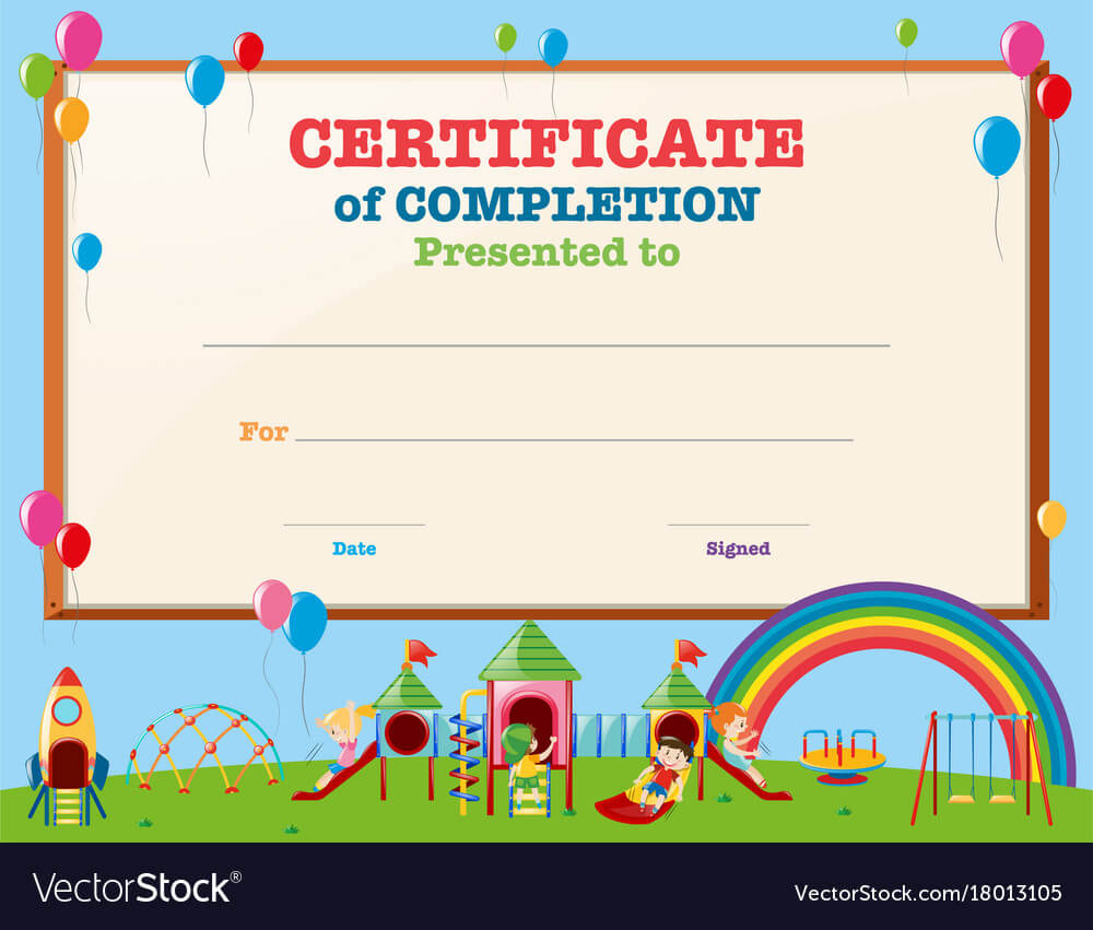 Certificate Template With Kids In Playground regarding Free Printable Certificate Templates For Kids