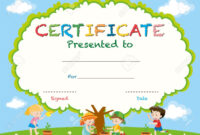 Certificate Template With Kids Planting Trees Illustration for Free Kids Certificate Templates