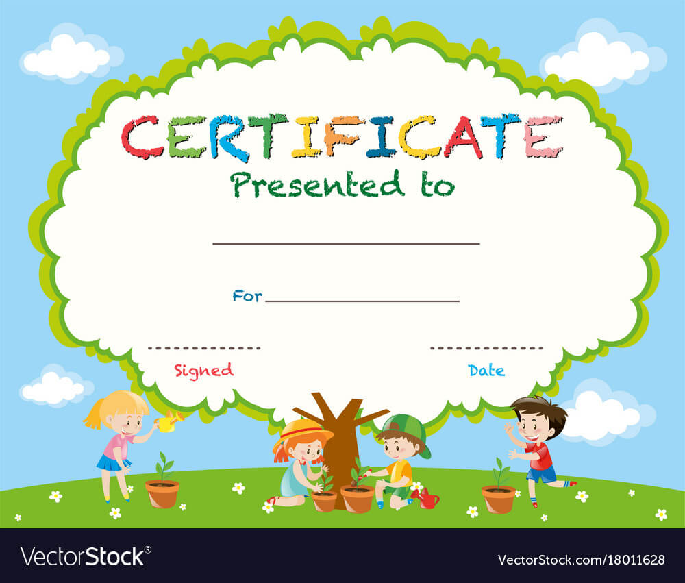 Certificate Template With Kids Planting Trees pertaining to Certificate Templates For School