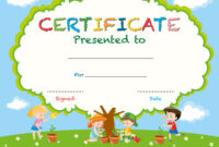 Certificate Template With Kids Planting Trees regarding Free Kids Certificate Templates