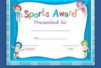 Certificate Template With Kids Swimming For Free Swimming Certificate Templates