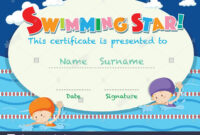 Certificate Template With Kids Swimming Illustration Stock With Regard To Swimming Award Certificate Template