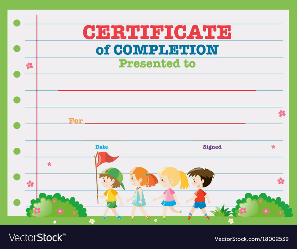 Certificate Template With Kids Walking In The Park Intended For Walking Certificate Templates