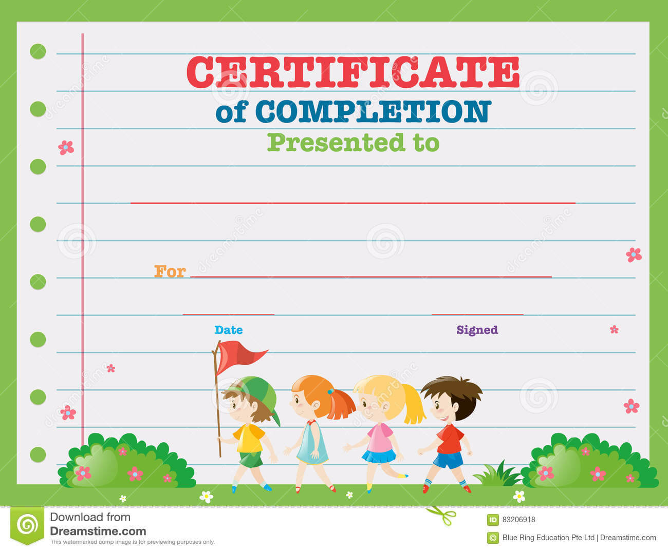 Certificate Template With Kids Walking In The Park Stock Regarding Walking Certificate Templates