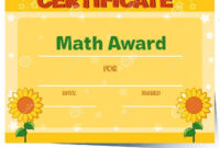 Certificate Template With Sunflowers In Background Stock Pertaining To Math Certificate Template