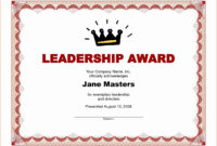 Certificate Template Word 2016 Brochure Templates Free In Leadership Award Certificate Template