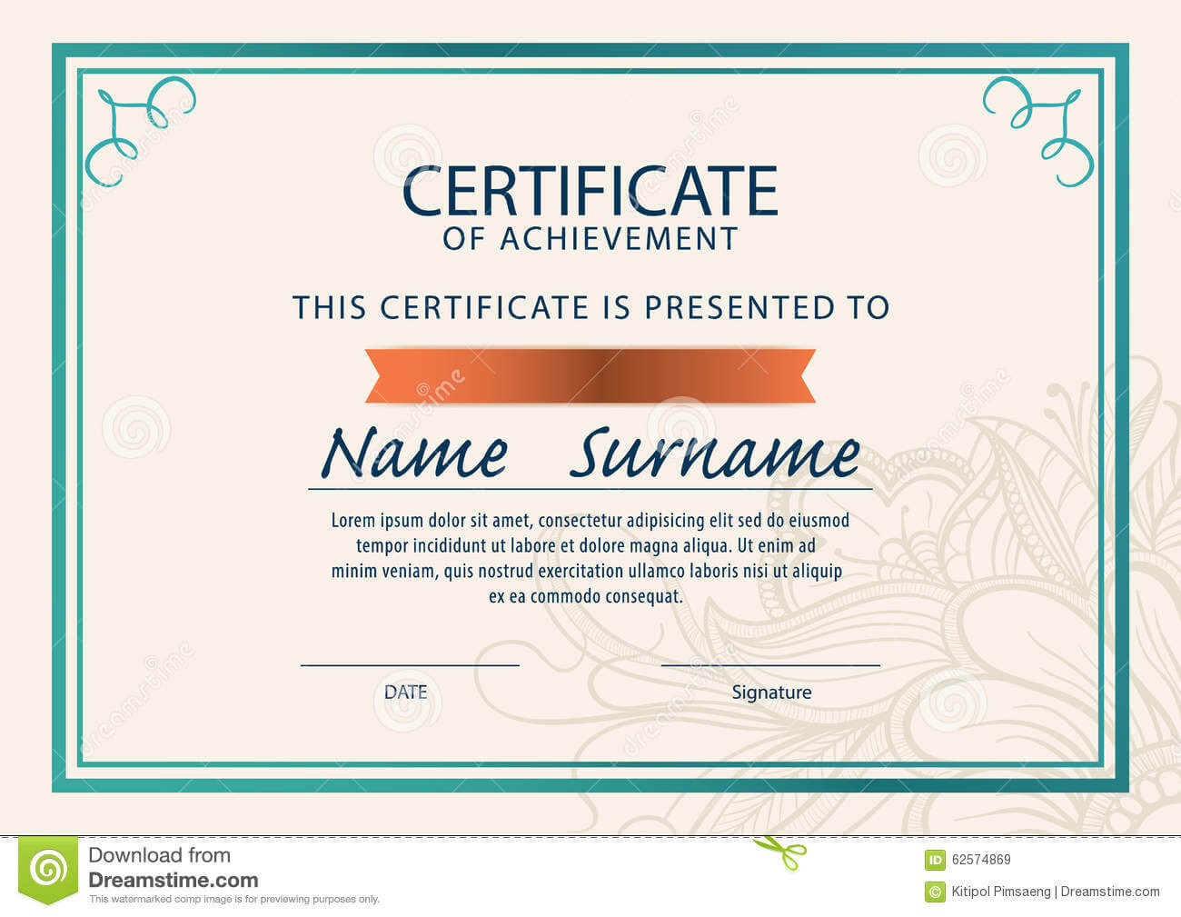 Certificate Template,diploma,a4 Size , Illustration 62574869 throughout Certificate Template Size