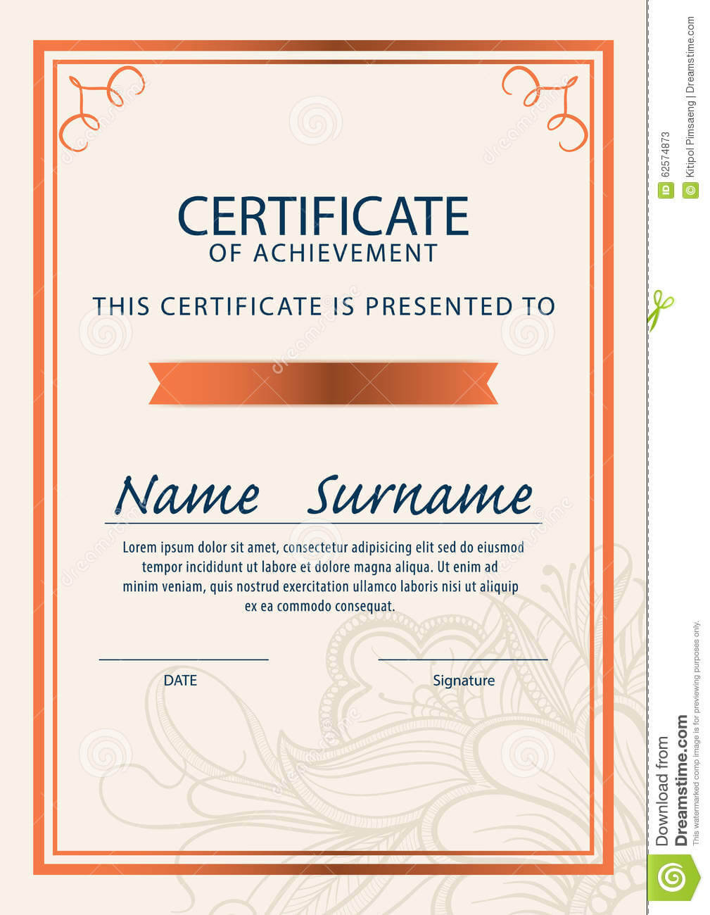 Certificate Template,diploma,a4 Size ,vector Stock Vector throughout Certificate Template Size