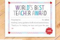Certificate Templates: Best Teacher Certificate Templates Free throughout Best Teacher Certificate Templates Free