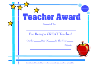 Certificate Templates For Best Teacher | Free Downloadable for Best Teacher Certificate Templates Free